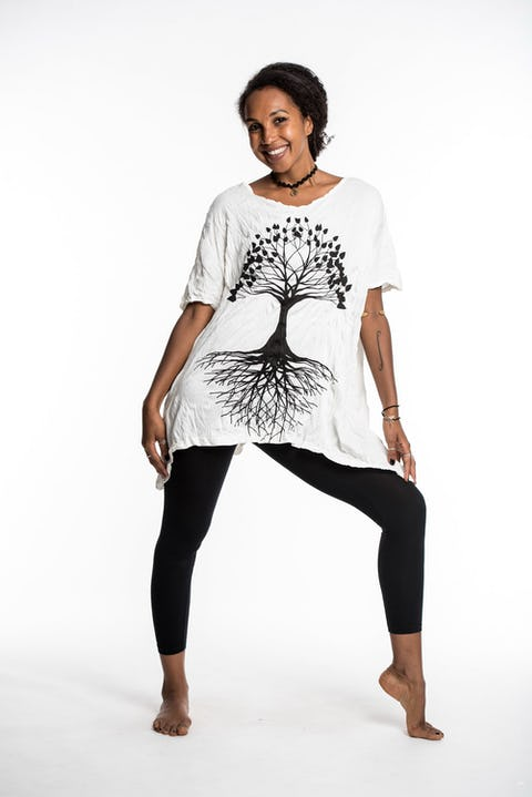 Womens Tree of Life Loose V Neck T-Shirt in White