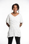 Womens Solid Color Loose V Neck T-Shirt in White