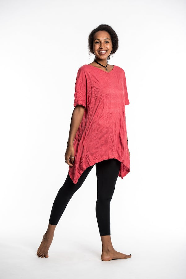 Womens Solid Color Loose V Neck T-Shirt in Red