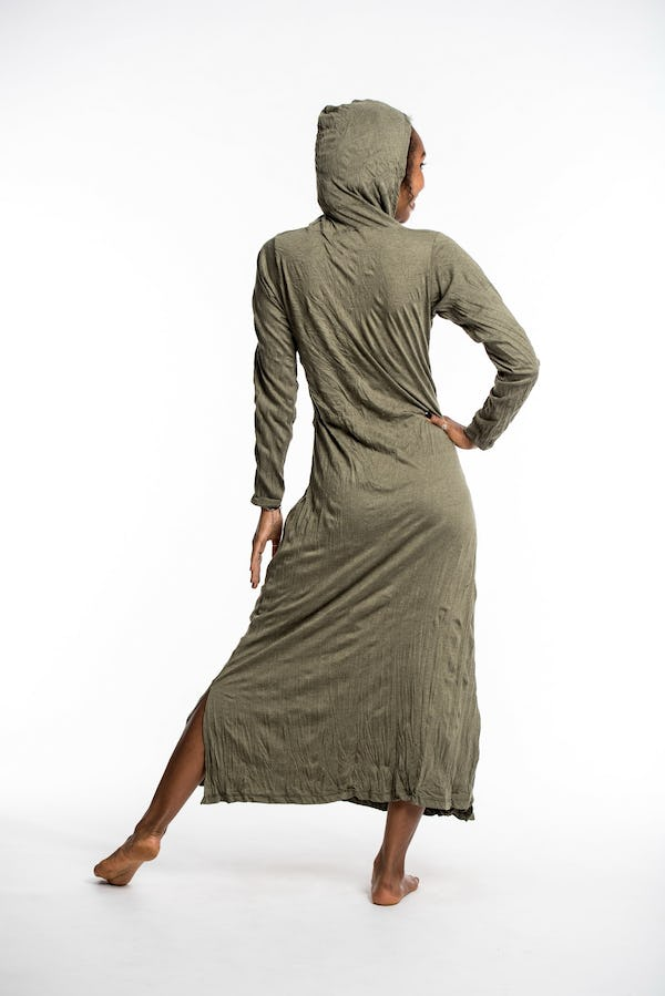 Womens Solid Color Long Hoodie Dress in Green