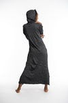 Womens Solid Color Long Hoodie Dress in Black