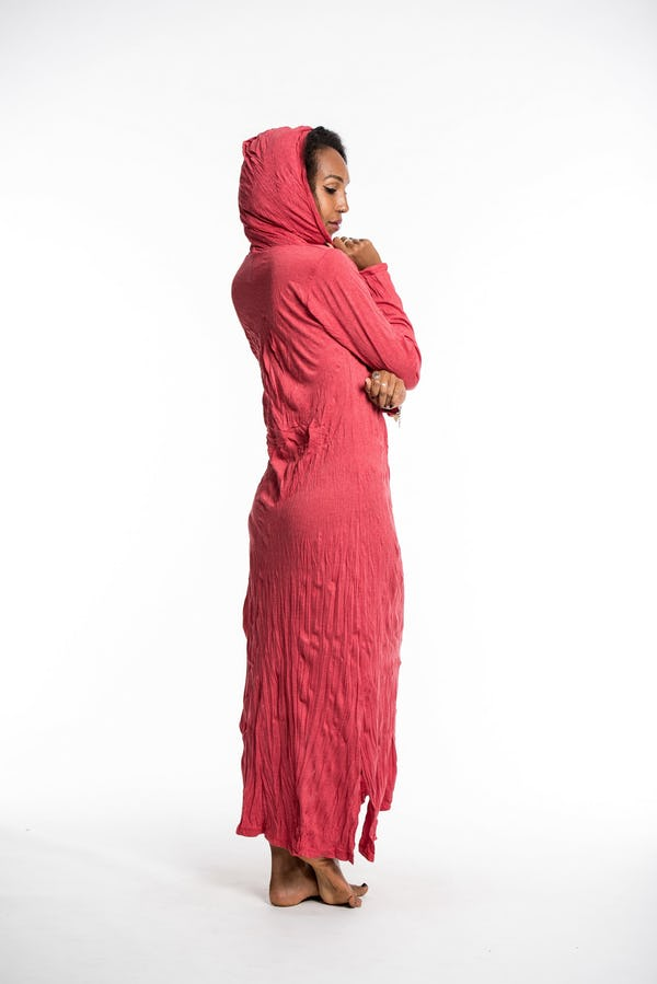 Womens Solid Color Long Hoodie Dress in Red
