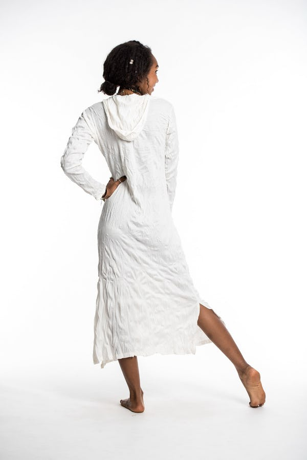 Sure Design Womens Solid Long Sleeve Hoodie Dress White