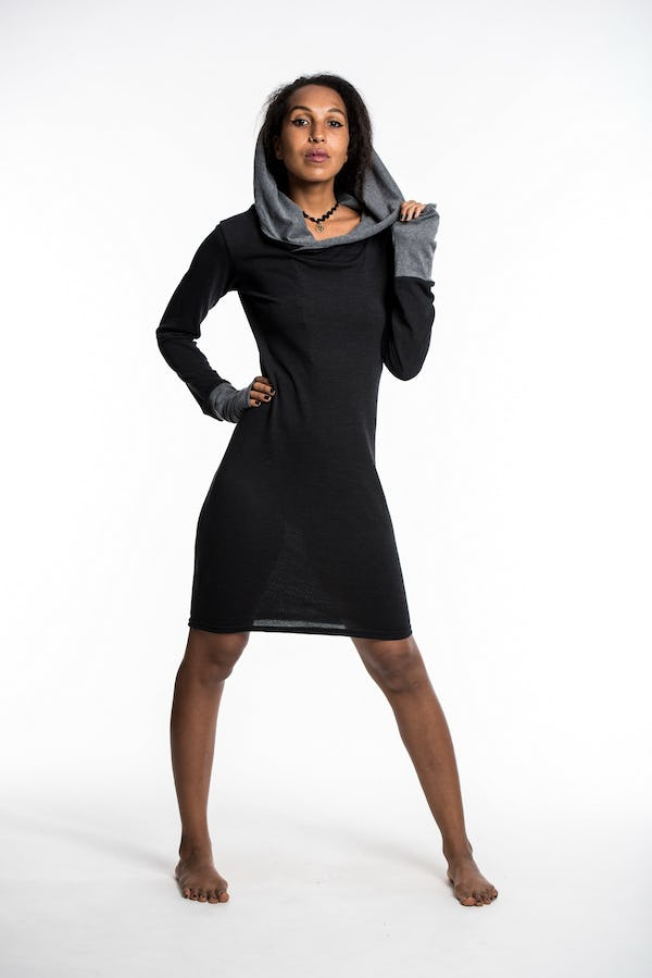 Pullover Hoodie Dress Black Gray