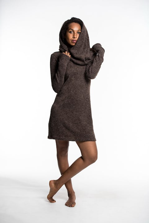 Hoodie Dress w/ Scarf Combo in Brown