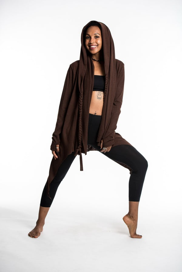 Wrap Around Hoodie Shawl in Brown