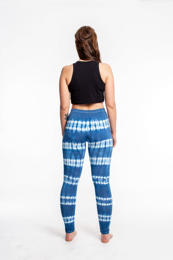 Sure Design Womens Super Soft Tie Dye Yoga Leggings Blue and White