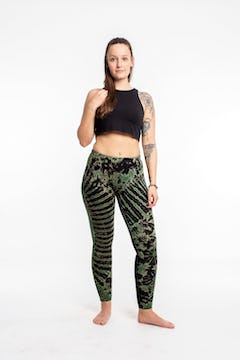 Clovers Thai Hill Tribe Fabric Unisex Harem Pants with Ankle Straps in Blue