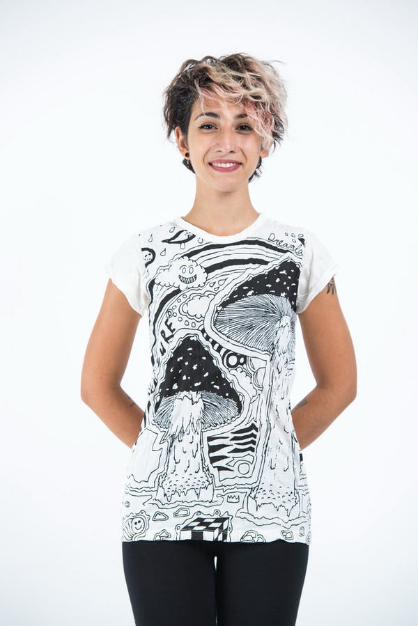 Sure Design Womens Magic Mushroom T-Shirt White