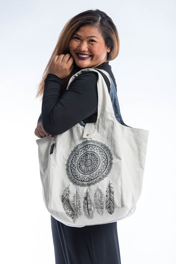Dreamcatcher Reversible Cotton Tote Bag in White