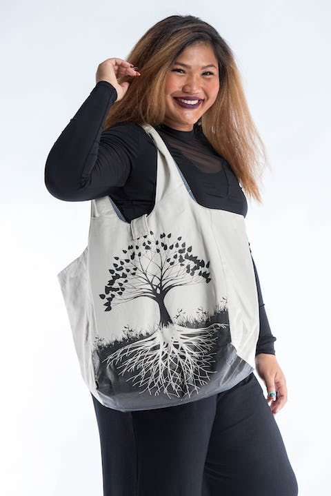 Tree of Life Reversible Cotton Tote Bag in White