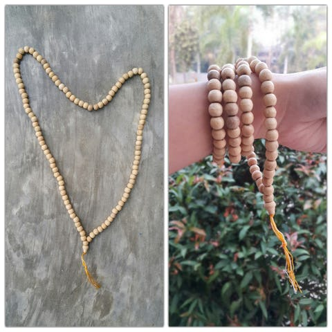 Tibetan Natural Wooden Prayer Beads Mala