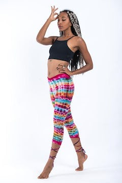 Melting Stripes Tie Dye Capri Leggings in Sugar Rainbow