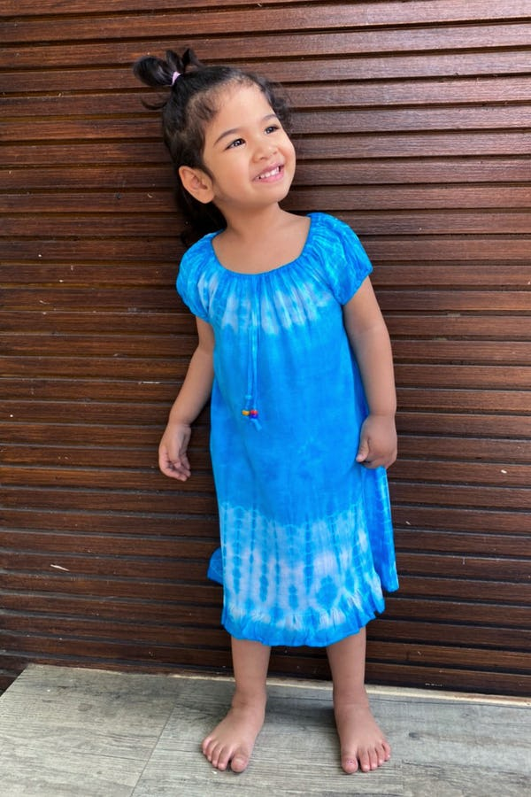 Kids Tie Dye Dress in  Blue
