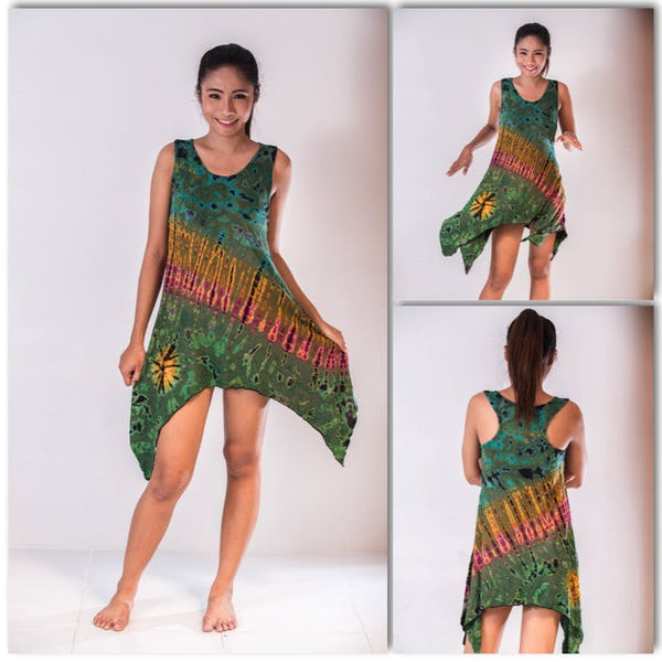 Sure Design Womens Super Soft Tie Dye Yoga Tank Dress