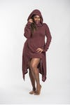 Ultra Long Hooded Sweater in Maroon