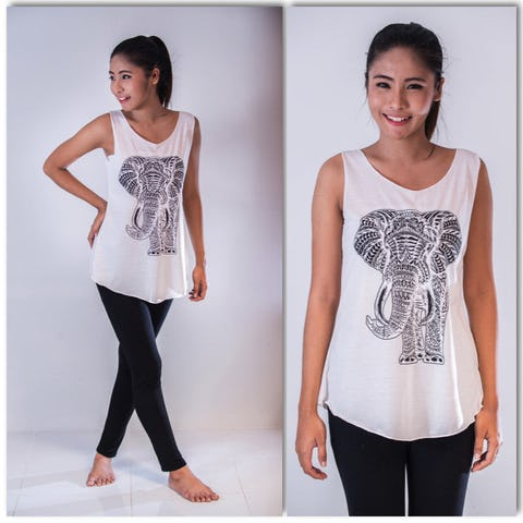 Super Soft Womens Regal Elephant Tank Top White