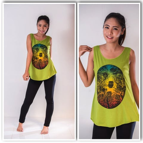 Super Soft Womens Owls Tank Top Lime
