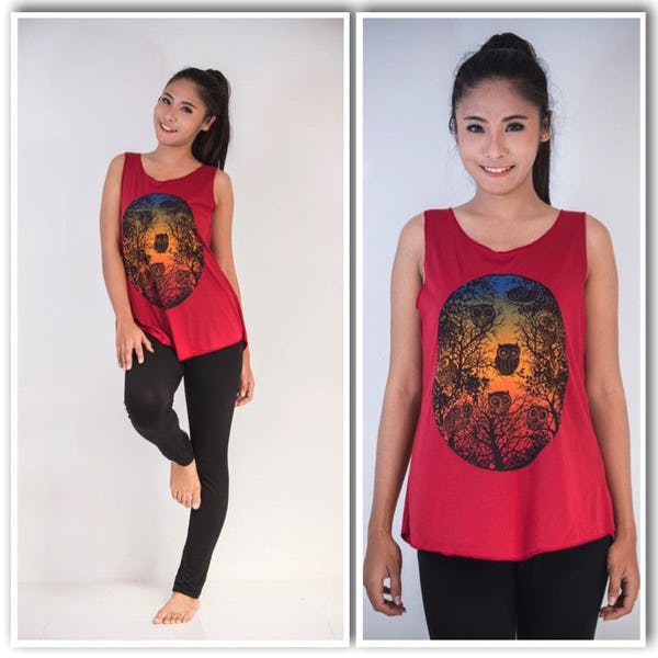 Super Soft Womens Owls Tank Top Red