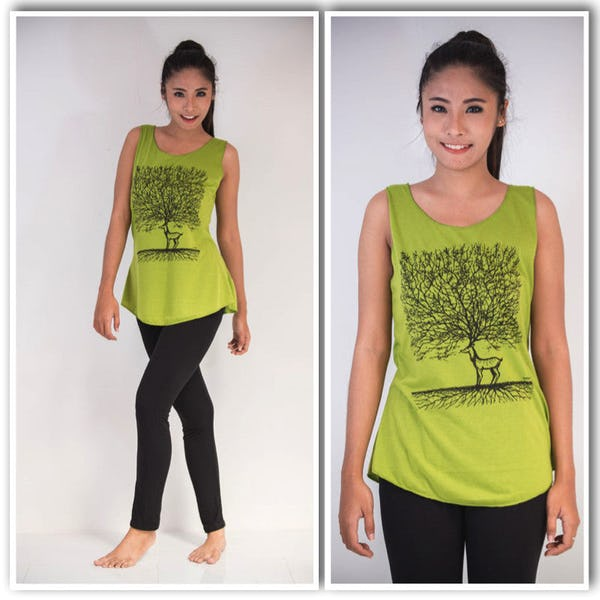 Super Soft Womens Bambi Tree Tank Top Lime
