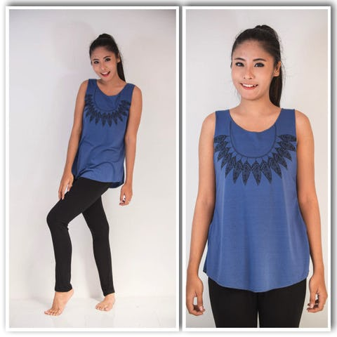 Super Soft Womens Feather Necklace Tank Top Denim Blue