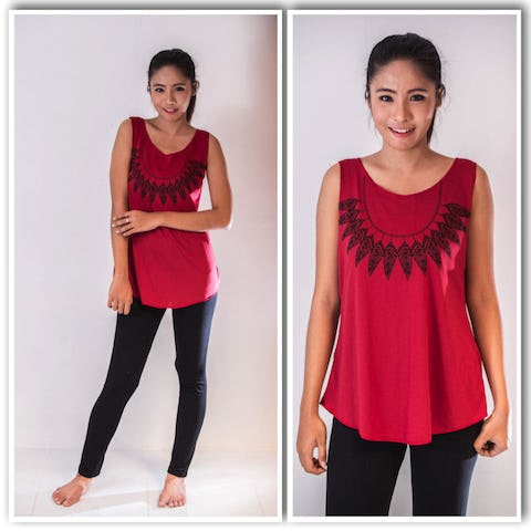 Super Soft Womens Feather Necklace Tank Top Maroon