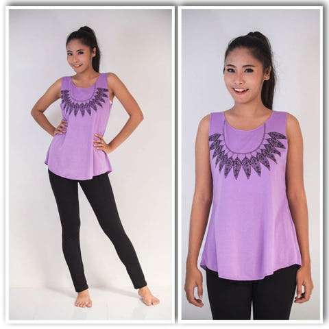 Super Soft Womens Feather Necklace Tank Top Purple
