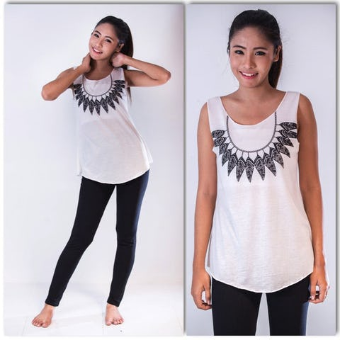 Womens Feather Necklace Tank Top in White