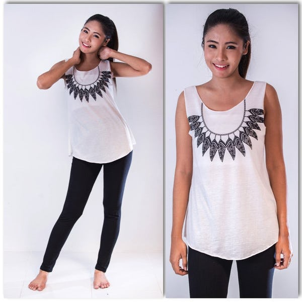Super Soft Womens Feather Necklace Tank Top White