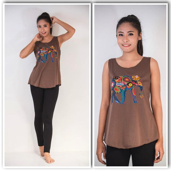 Super Soft Womens Bohemian Elephant Tank Top Brown