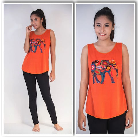 Super Soft Womens Bohemian Elephant Tank Top Orange