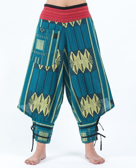 Thai Hill Tribe Fabric Harem Pants with Ankle Straps in Turquoise