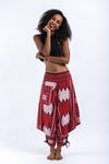 Thai Hill Tribe Fabric Harem Pants with Ankle Straps in Maroon