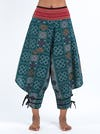 Clovers Thai Hill Tribe Fabric Men's Harem Pants with Ankle Straps in Green