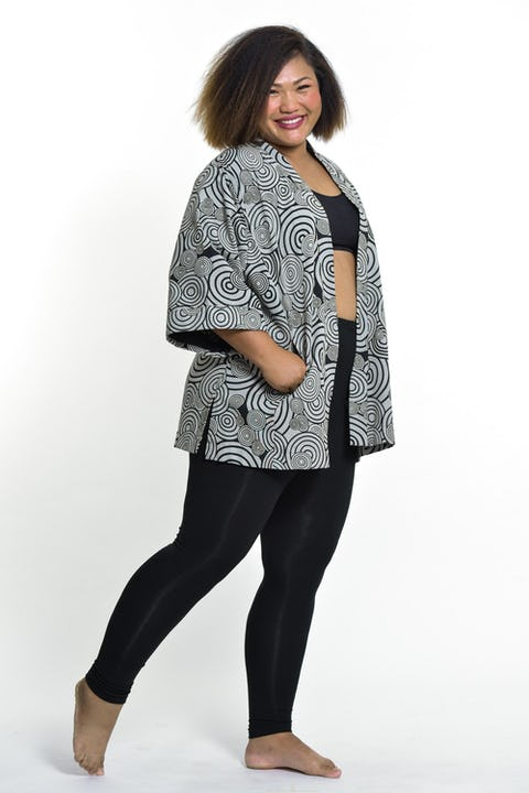Swirls Print Cotton Kimono Cardigan in Black