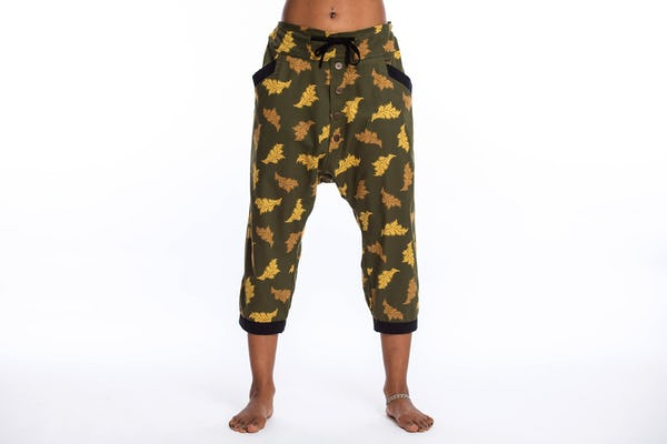 Leaves Unisex Harem Pants with Faux Buttons in Green