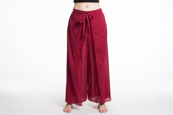 Womens Solid Color Wrap Palazzo Pants in Red