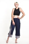 Women's Cotton Double Layers Cropped Pants in Solid Navy
