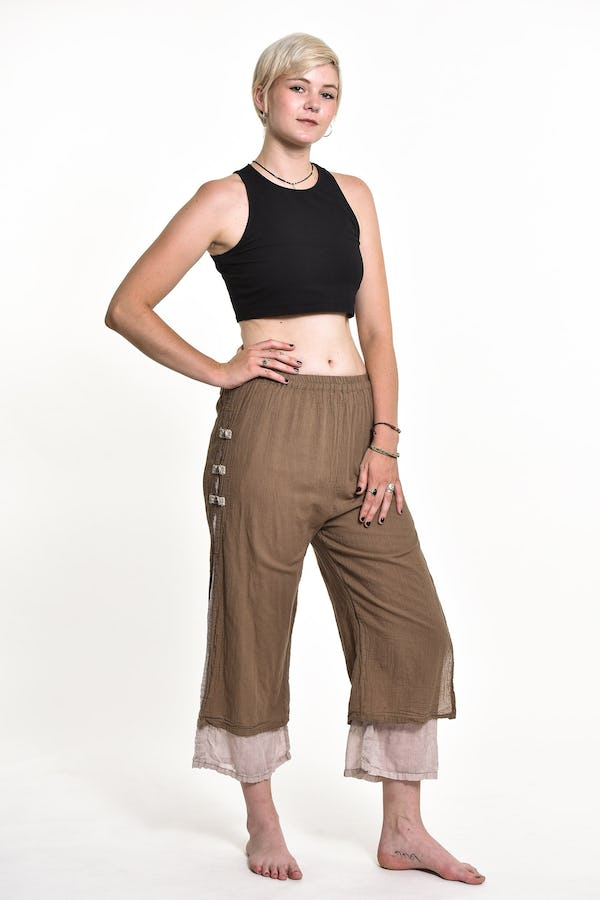 Womens Solid Color Double Layers Cropped Pants in Tan