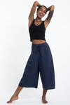 Women's Crinkled Cotton Cropped Pants in Solid Navy