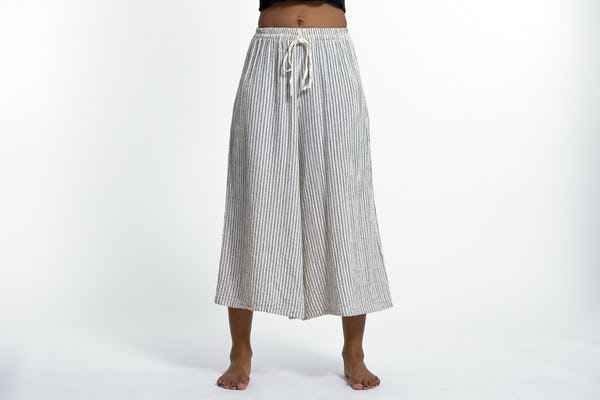Womens Solid Color Crinkled Cropped Wide Leg Pants in White