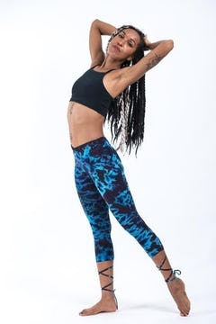 Womens Wide Leg Tie Dye Pants Royal Blue