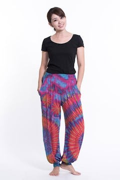 Aztec Elephant Drop Crotch Elephant Pants in Gray