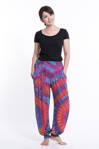Tie Dye Cotton Unisex Harem Pants in Pink