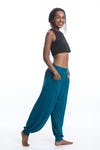 Cotton Unisex Harem Pants in Solid Blue