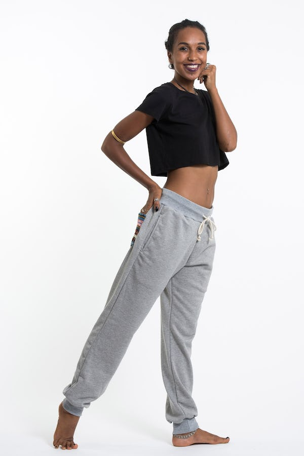 Unisex Terry Pants with Aztec Pockets in Gray