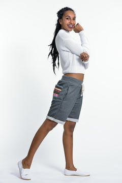 Unisex Terry Shorts with Aztec Pockets in Gray