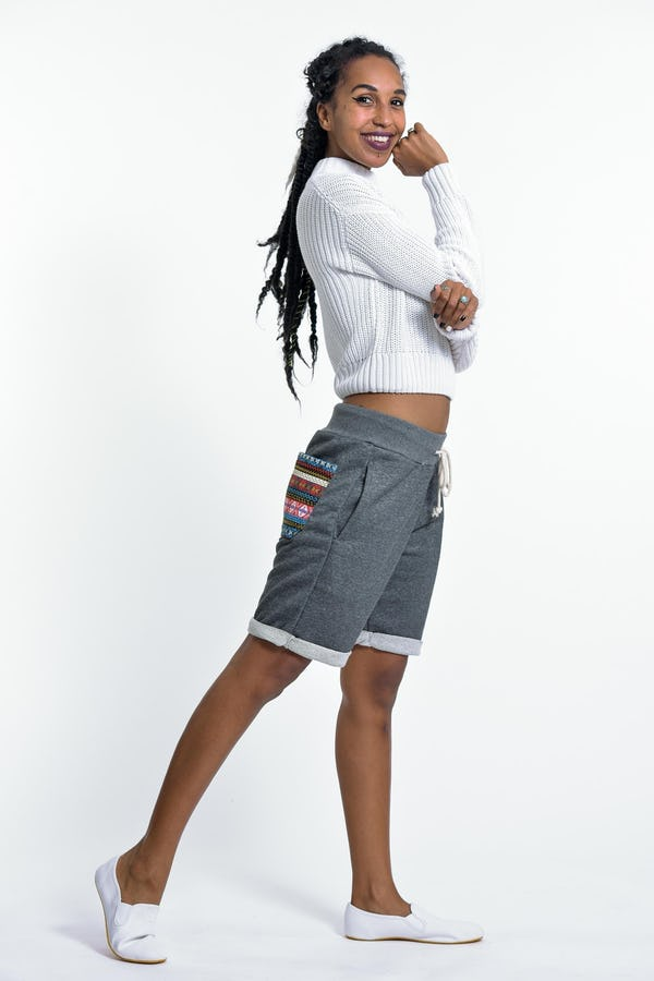 Unisex Terry Shorts with Aztec Pockets in Black