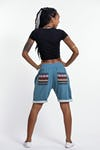Unisex Terry Shorts with Aztec Pockets in Blue