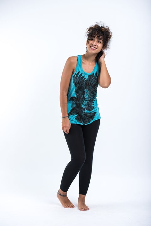 Womens Eagle Tank Top in Turquoise
